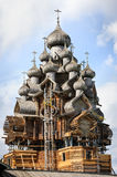 Wooden church at Kizhi under reconstruction Stock Photo