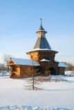 Wooden church in Kolomenskoye park in winter. Royalty Free Stock Image