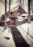 Wooden church. At Lestiny, Slovakia stock photos