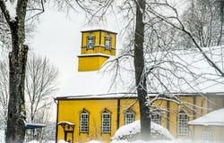 Wooden church in winter Stock Photos