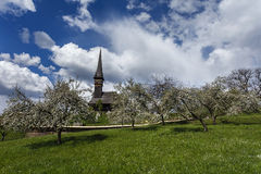 A wooden church in Maramures, in an orchard with trees in bloom Stock Photos