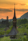 Wooden church from Maramures, Romania. Traditional wooden church from Maramures county, Romania at sunset Stock Image