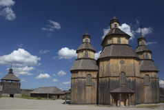 Wooden church in the middle of the Zaporozhian Sich. Hortisia Island royalty free stock photo