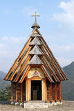 Wooden church on mountain Stock Photo