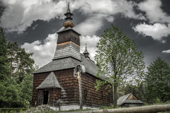 Wooden church in museum Lubovna, Slovakia royalty free stock photography
