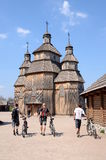 Wooden church in the museum of Zaporizhian Cossacks, Khortytsia Royalty Free Stock Images