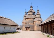 Wooden church in the museum of Zaporizhian Cossacks, Khortytsia Royalty Free Stock Photos