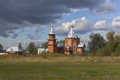 Wooden Church of the Nativity of Prophet and Forerunner John the Baptist in a village Zaruchevnya (Shilovskaya) Stock Photos