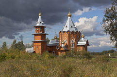 Wooden Church of the Nativity of Prophet and Forerunner John the Baptist in a village Zaruchevnya Stock Photo