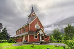 Wooden church in the north fjord in norway stock photography