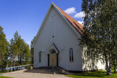 Wooden church. In Northern Finland stock photos