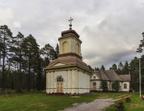 Wooden church. In Northern Finland stock image