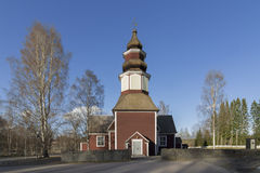 Wooden church. Old wooden church in Southern Finland royalty free stock photos