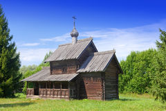 Wooden church.Open-air museum of  ancient wooden architecture. Russia. Great  Novgorod. Royalty Free Stock Photography
