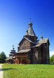 Wooden church.Open-air museum of  ancient wooden architecture. Russia. Vitoslavlitsy, Great  Novgorod. Royalty Free Stock Photo