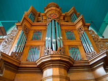 Wooden church organ Stock Photos