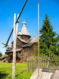 Wooden church. Wooden orthodox church on a background of blue sky royalty free stock photos