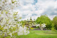 Wooden church in outdoor ukrainian national folk historical village Stock Images