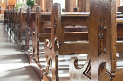 Wooden church pew Royalty Free Stock Photography