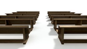 Wooden Church Pews Royalty Free Stock Photos