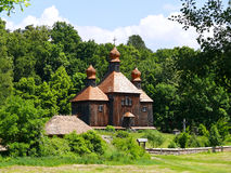 Wooden church at Pyrohiv (Pirogovo) outdoor Museum Stock Photos