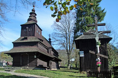 Wooden church in Rusky Potok Stock Image