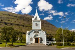Wooden church in Seydisfjordur Iceland Stock Photography