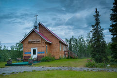 Wooden church. Small town church made of wood Stock Image