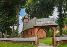 Wooden church of St. Catherine in Sromowce Nizne, Poland stock photos