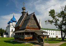 The wooden Church of St. Nicholas in the Kremlin of Suzdal. Golden Ring, Russia. The wooden Church of St. Nicholas in the Kremlin of Suzdal - a monument of Royalty Free Stock Images