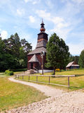 A wooden church in Stara Lubovna, Slovakia. A vertical view of a rare wooden church in the open-air museum of Stara Lubovna, Spis region, eastern Slovakia. This stock images