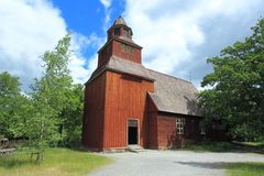 Wooden church in Stockholm skansen Stock Photography