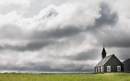 Wooden church and storm Stock Photo