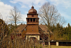 Wooden church in Svaty Kriz, Slovakia. Wooden articular evangelic church in Svaty Kriz Royalty Free Stock Image