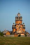 Wooden church in a village. Christian raditional wooden church in a village Stock Photos