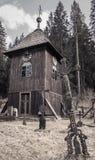 Wooden church at village Cierny Vah, Slovakia Royalty Free Stock Images