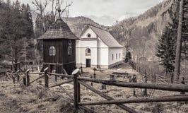 Wooden church at village Cierny Vah, Slovakia Royalty Free Stock Image