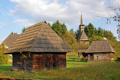 Wooden church on village top Stock Images