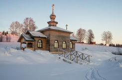 Wooden church in the winter Stock Image