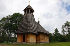 The wooden church in Wola Michowa (Bieszczady, Poland). The wooden church dedicated to Our Lady of Czestochowa Wola Michowa Bieszczady Poland. The construction Royalty Free Stock Photos