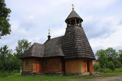 The wooden church in Wola Michowa (Bieszczady, Poland). The wooden church dedicated to Our Lady of Czestochowa Wola Michowa Bieszczady Poland. The construction Stock Photography