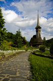 Wooden Churches. Traditional wooden churches of Maramures, Romania. This in Barsana Churche and it has 57m height stock photos