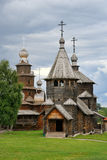Wooden Churches under Grey Skies - Museum of Wooden Archutecture in Suzdal Royalty Free Stock Photo