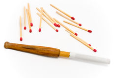 Wooden cigarette holder with matches Stock Photo
