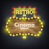 Wooden Cinema Retro Billboard Banner. Stock Photography