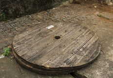 Wooden circle wood on the sidewalk photo taken in jakarta indonesia Royalty Free Stock Image