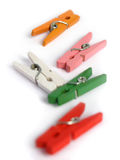Wooden clamp clothes colorful Royalty Free Stock Photo