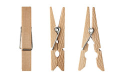 Wooden clamps. Isolated on a white background Stock Photography