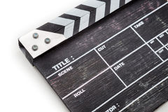 Wooden clapper board isolated on white background. Black wooden clapper board isolated on white background Stock Photography