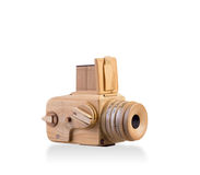 Wooden classic camera isolated Royalty Free Stock Photos